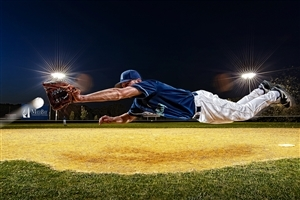 Baseball Player Jump in Air