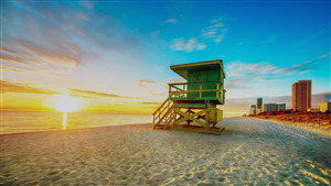 Beautiful Miami Beach in Florida Sunrise 4K Wallpaper