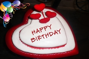 Happy Birthday in Heart Shape Cake HD Wallpapers