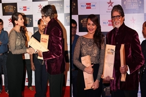 Sonakshi Sinha and Amitabh Bachchan at Big Star Entertainment Awards 2013 High Quality HD Wallpapers