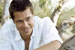 Brad Pitt in White Shirt With Smiling
