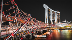 Amazing Bridge at Marina Bay Sands Singapore at Night 5K Wallpaper