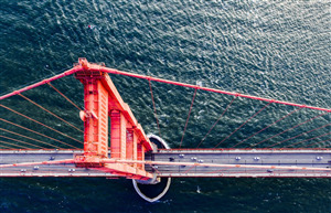 Awesome Top View of Golden Gate Bridge California US Wallpaper