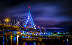 Beautiful Bridge in Boston City in Massachusetts US Night View Wallpaper