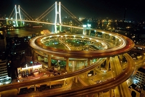 Flyover Bridge of Shanghai at Night HD Wallpaper