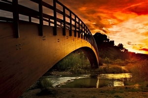 Nice Super Bridge on River and Sunset View Wallpapers