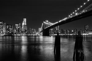 Night Black and White View of Bridge