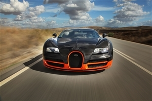 New Balck and Orange Bugatti Super Sport Car Wallpaper