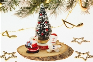 Beautiful Nice Christmas Tree and Santa Clause Gift Wallpaper