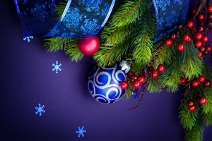 Christmas Balls and Trees HD Nice Wallpapers