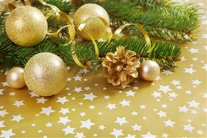 Golden Christmas Balls on Christmas Holiday Wallpaper