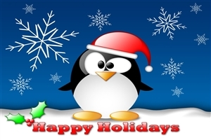 Happy Holiday Penguin Wallpaper