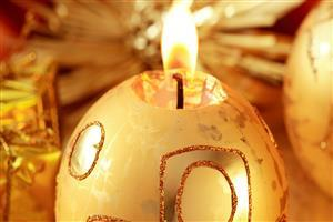 Lamp Diya on Christmas Ball Images in Christmas Festival