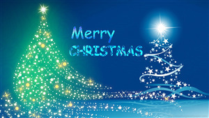 Merry Christmas Blue Background Wallpaper