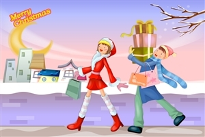 Merry Christmas Cartoon Shopping Gifts Wallpaper