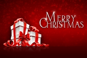 Merry Christmas Gift on Festival Red Background HD Wallpapers