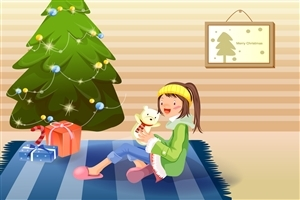 Merry Christmas Gifts and Tree Cartoon Photos