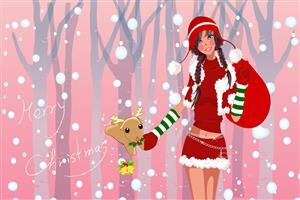 Merry Christmas Girl Wide Wallpaper Download