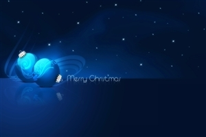 Merry Christmas Greetings in Blue Background Wallpapers