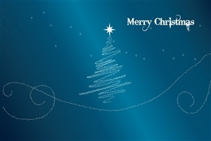 Merry Christmas Tree and Greeting Image in Sky Color Background