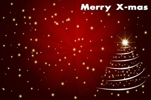 Merry X Mas Greetings in Red Background Christmas Tree Photos