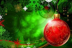 Red Christmas Ball in Green Background