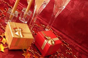 Red and Golden Christmas Gift Images