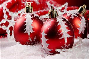 Red and White Christmas Ball HD Wallpaper