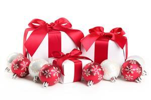 Red and White Christmas Balls and Gifts Wallpaper