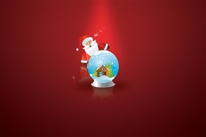 Santa Claus and Gifts in Red Background Image