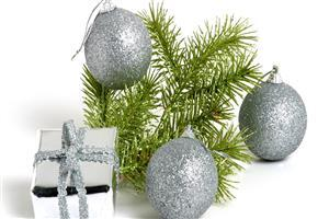 Silver Christmas Ball and Gifts Images