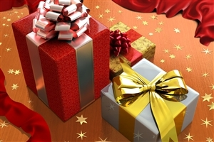 Silver and Red Gift Box on Christmas Holiday Wallpaper