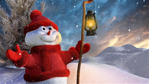 Snow Man in Christmas Winter Season