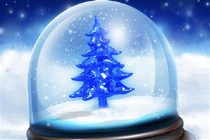 Snowy Christmas Tree Gift Wallpaper