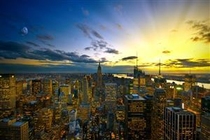 Beautiful New York City Wallpaper at Sunset Time