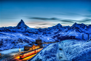 Beautiful Switzerland Country Mountain Night View Wallpapers
