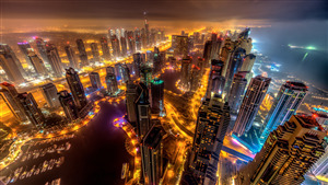 Dubai City Night View 5K Wallpaper