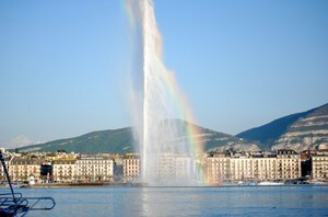 Jet dEau High Fountain in Geneva Switzerland Photo