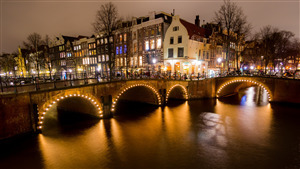Night View of Amsterdam City Netherlands 4K Wallpapers
