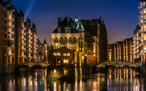 Speicherstadt Night View Germany Wallpaper