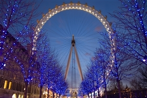 Tourist Place London Eye Twilight in UK