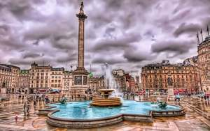 Trafalgar Square Plaza Fountain in London City Wallpaper