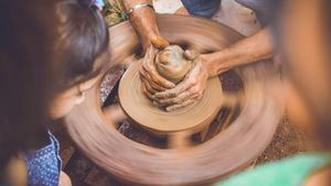 Clay on Potters Wheel Creativity Photo