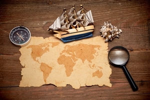 Creative Map and Ship High Definition Computer Desktop Background Wallpaper