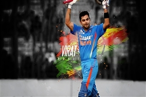 Handsome Virat Kohli with Bat Indian Cricket Player Wallpapers