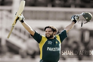 Pakistan Cricket Player Shahid Afridi Celebrates in One Day International Match Photos