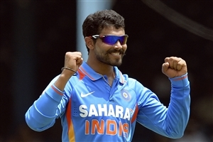 Ravindra Jadeja Indian Crickter Celebrates after take Wicket in One Day Match Photo