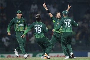 Shahid Afridi and other Pakistani Cricketer Celebrates after Take Wicket in One Day Match Wallpapers