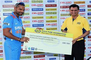 Shikhar Dhawan Trusted Player of The Match West Indies vs India Tri Series 2013