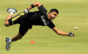 Suresh Raina During Fielding Practice Photo
